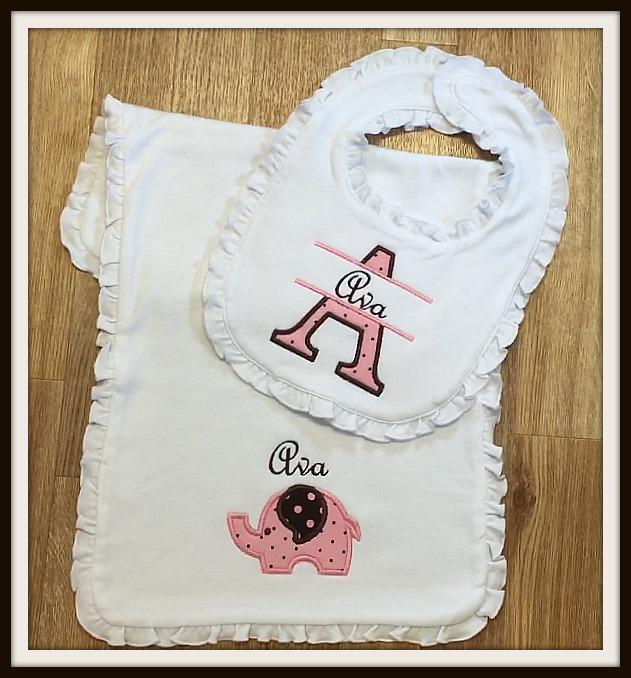 Personalized Baby Girl Bib & Burp Cloth Set