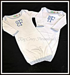 Monogramed Seersucker Infant Gown