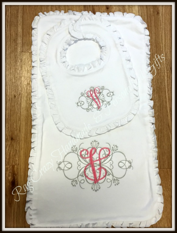 Personalized Baby Girl Bib & Burp Cloth Set - Elegant Flourish
