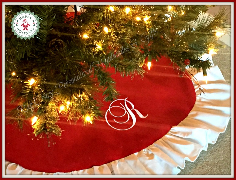 Handmade Personalized Red Christmas Tree Skirt