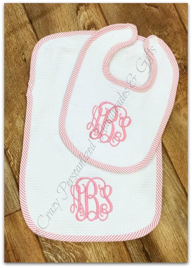 Seersucker Trim Baby Gift Set - Burp & Bib Set