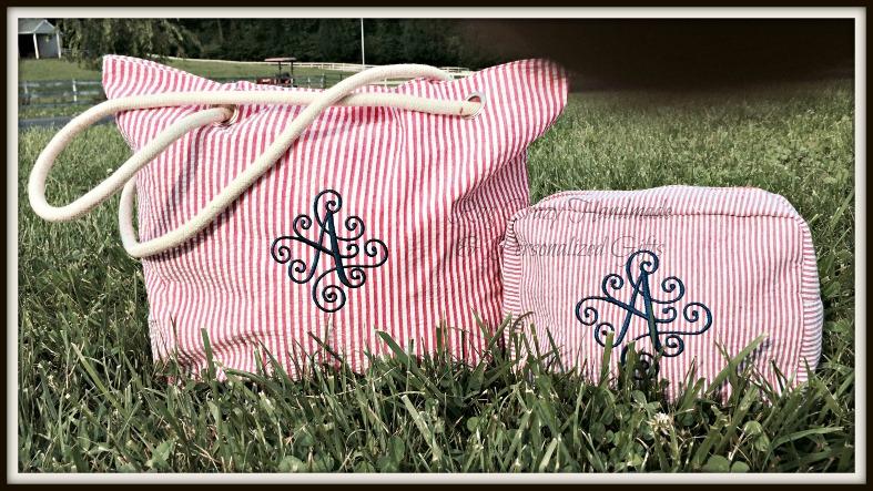 Personalized Seersucker Tote & Cosmetic Bag Set